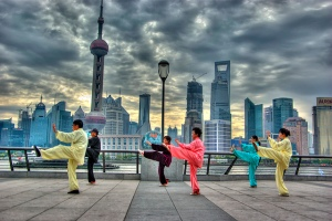 """In front of Pudong Skyline"" by leniners"